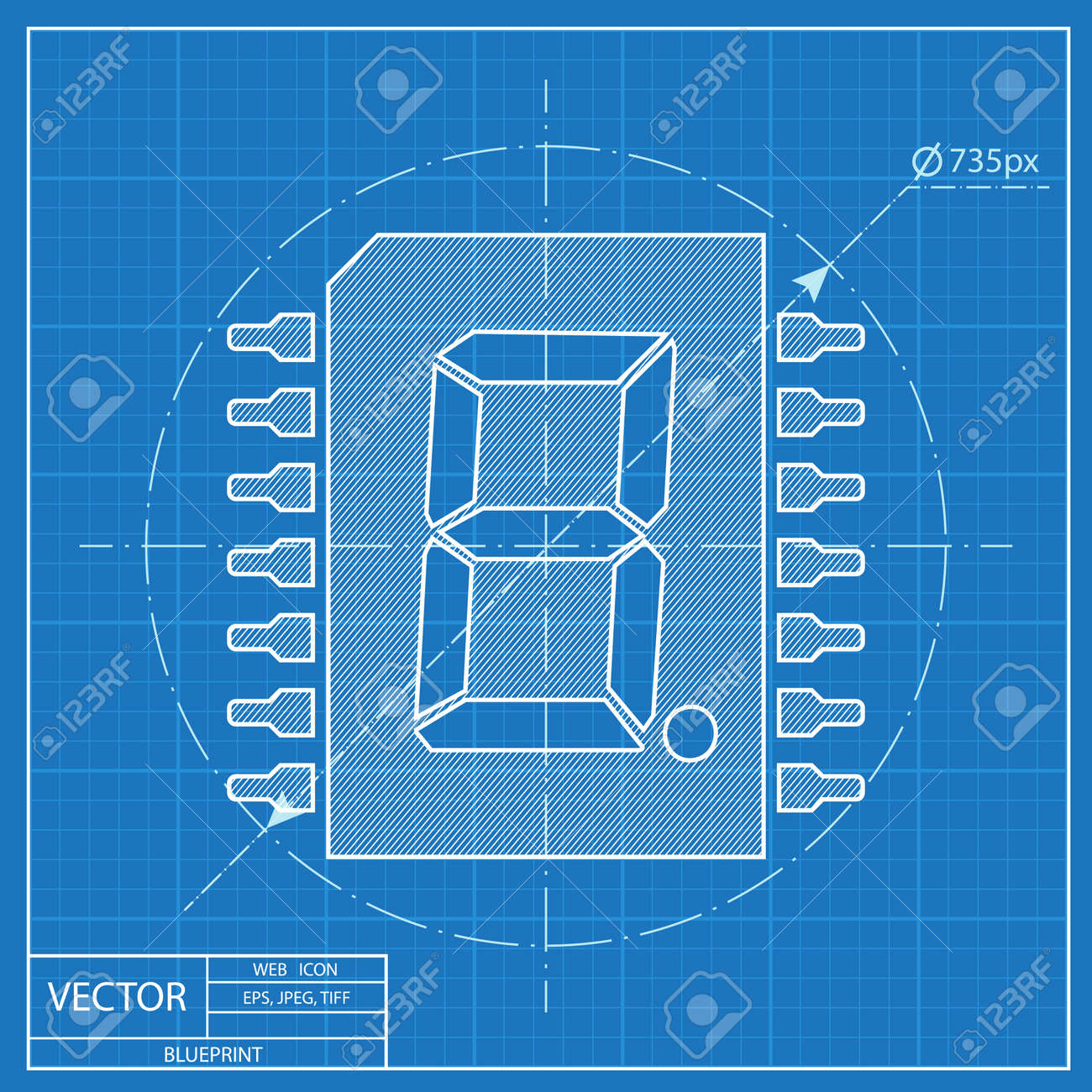 Blueprint icon of digital microchip royalty free cliparts vectors blueprint icon of digital microchip stock vector 55724418 malvernweather Images