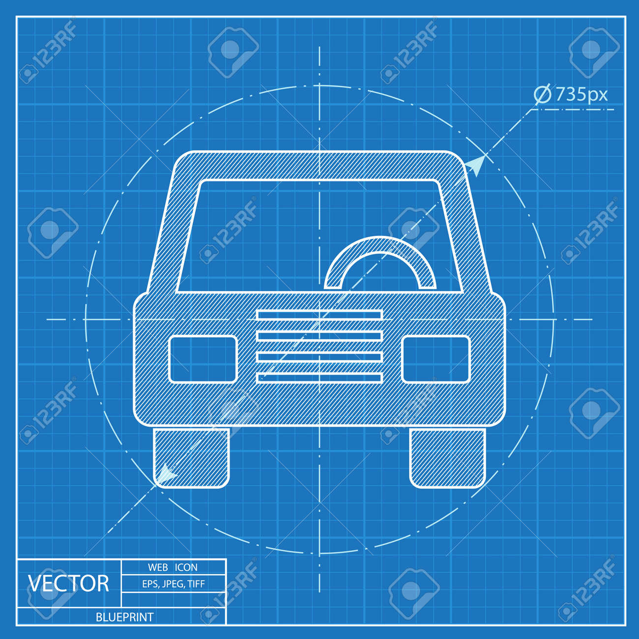 Blueprint icon of car front royalty free cliparts vectors and blueprint icon of car front stock vector 55724510 malvernweather Images