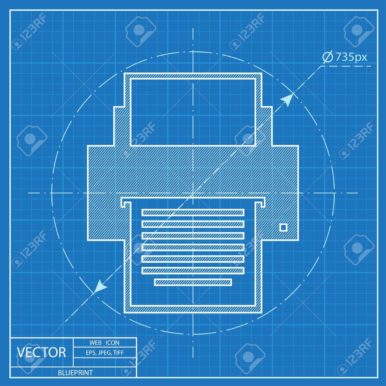 Blueprint icon of printer royalty free cliparts vectors and stock blueprint icon of printer stock vector 56166992 malvernweather Choice Image