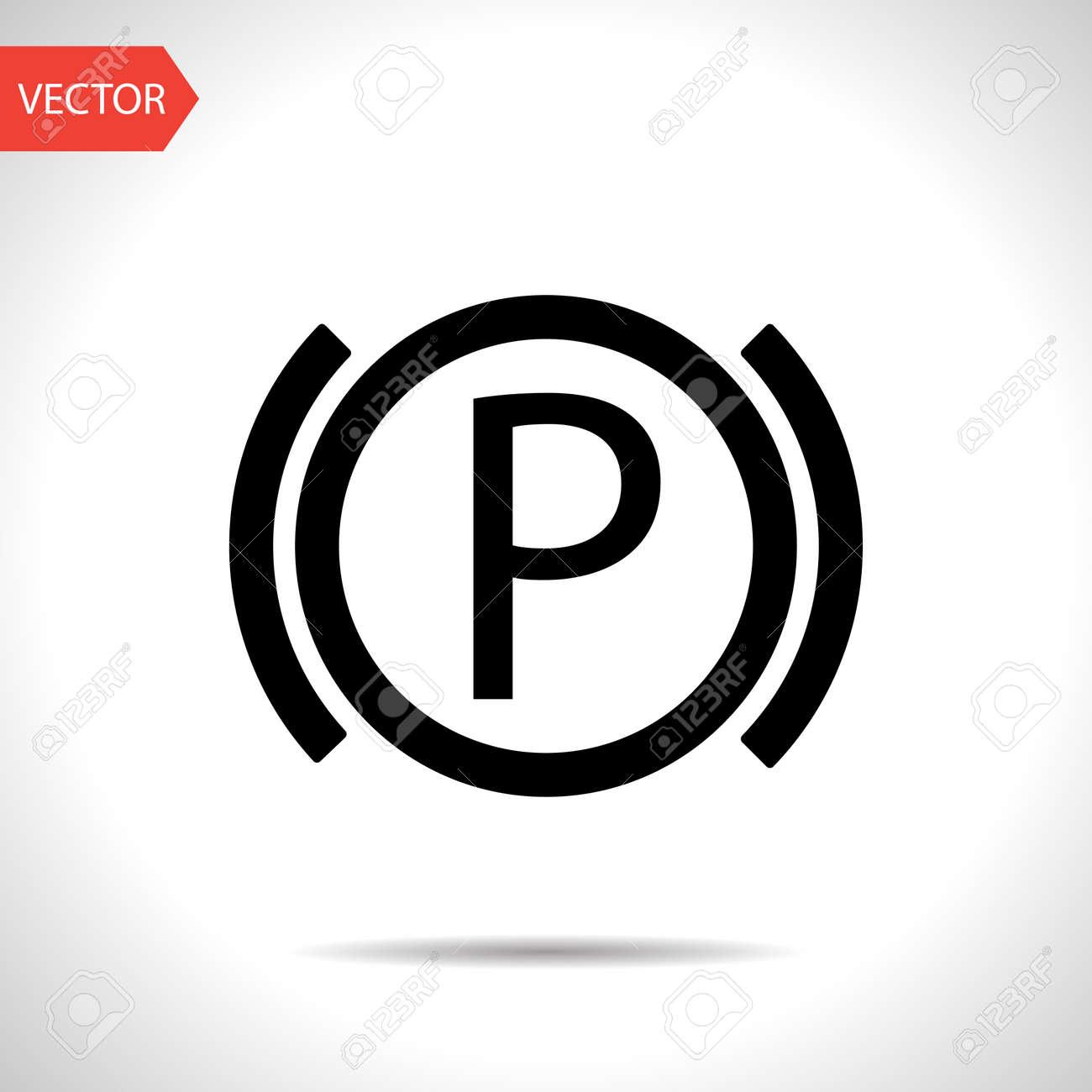 Car Parking Brake Warning Vector Hmi Dashboard Flat Icon Royalty - Car image sign of dashboardcar dashboard icons stock images royaltyfree imagesvectors