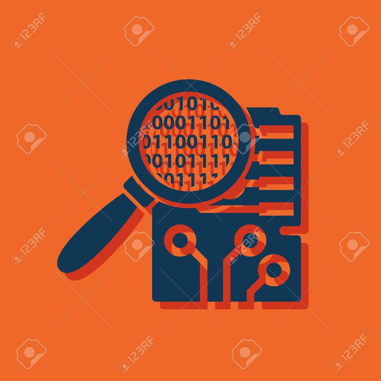 Circuito Y Servicios : Circuito de inspección de placas icono plana ilustración