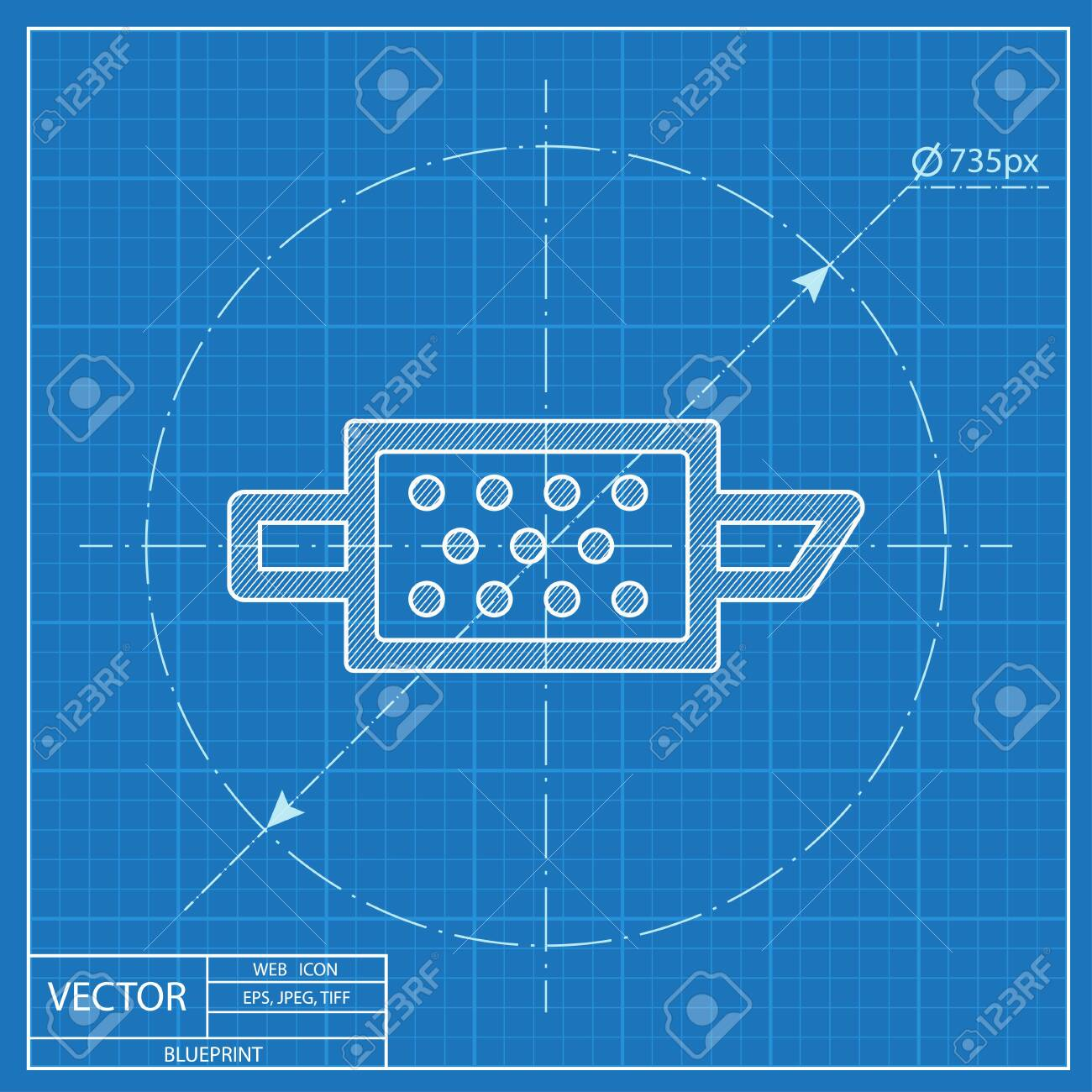Particulate engine filter warning vector hmi dashboard blueprint icon - 122779438