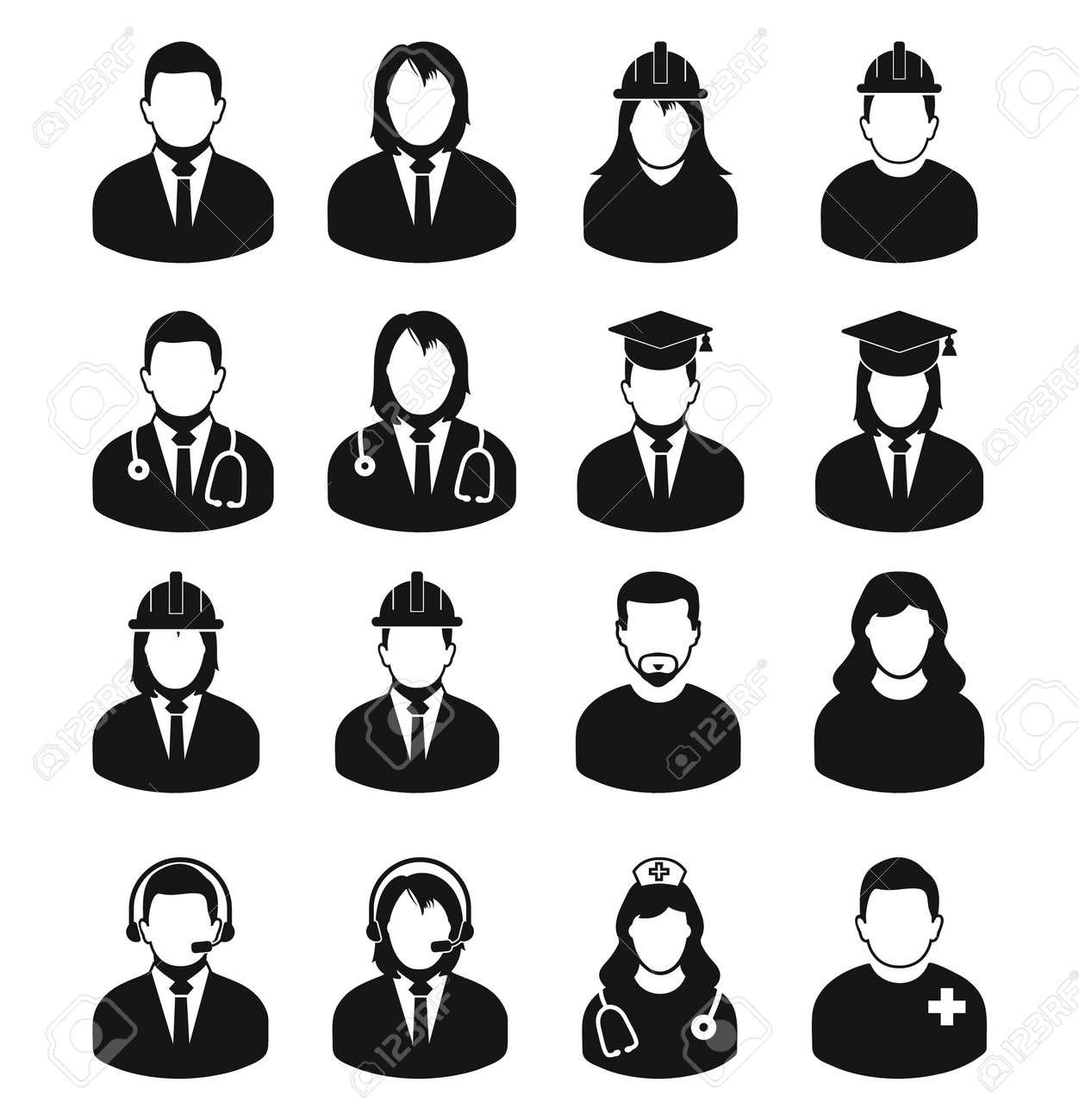 People profile icon set of different profession. Corporate man, Graduate Student, Customer Service, Doctor, Nurse, Engineer etc. - 129487910