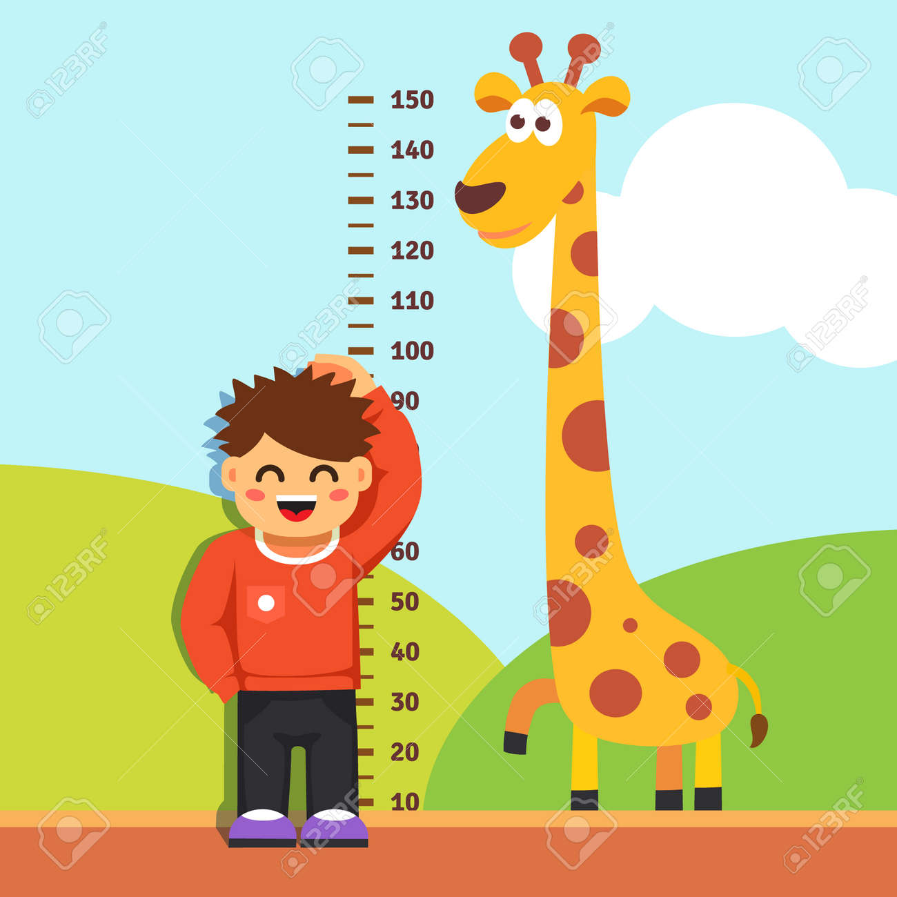 boy kid is measuring his height with painted graduations on the