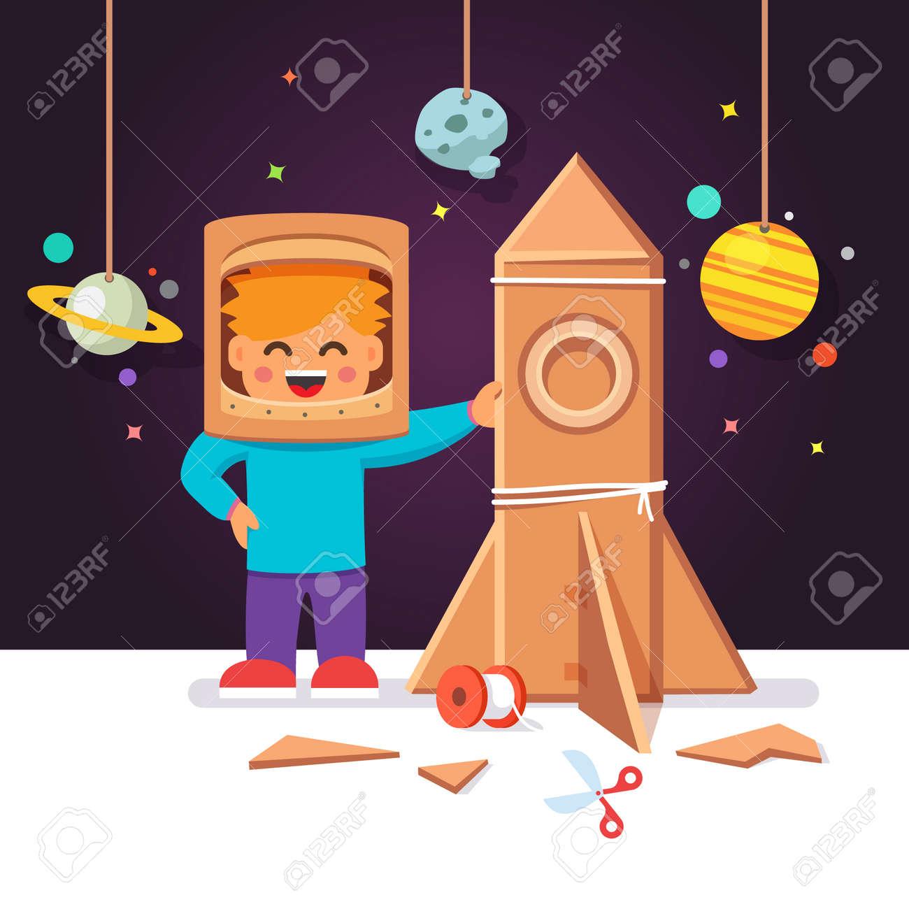 Kid Making Cardboard Box Rocket And Astronaut Costume Helmet