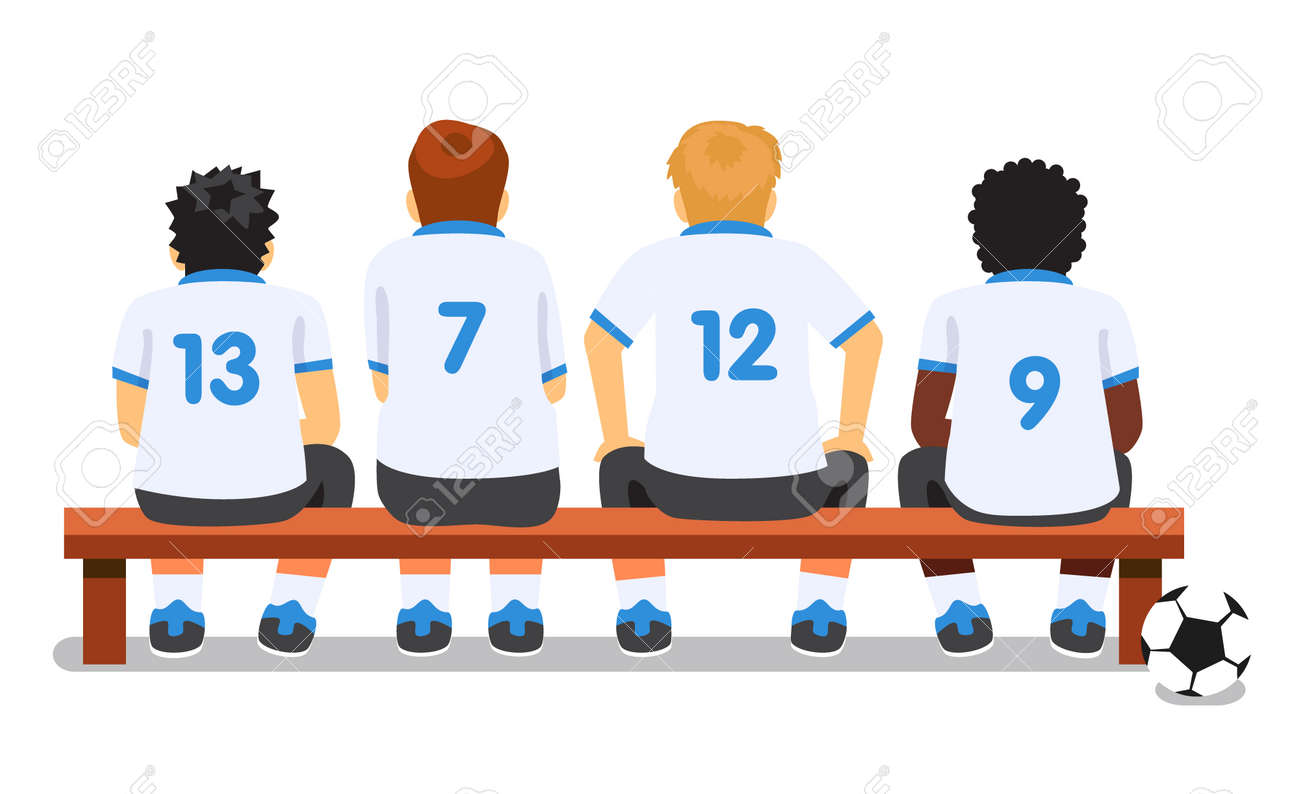 Football Soccer Sport Team Sitting On A Bench Flat Style Vector Royalty Free Cliparts Vectors And Stock Illustration Image 44987629