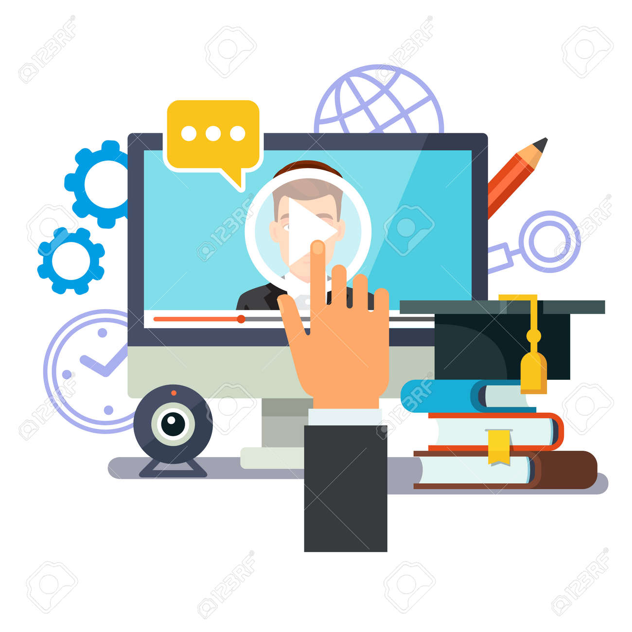 Online education and graduation. Webinar and video seminar learning concept. Businessman hand touching screen with lecture media. Flat style vector illustration isolated on white background. Stock Vector - 46168022