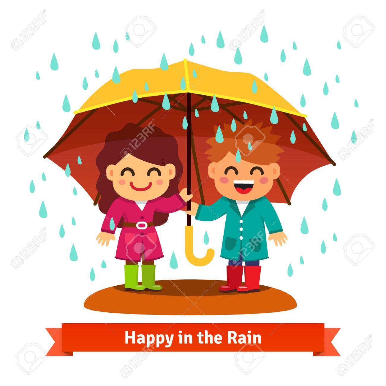 Bildresultat för barn i regn tecknad