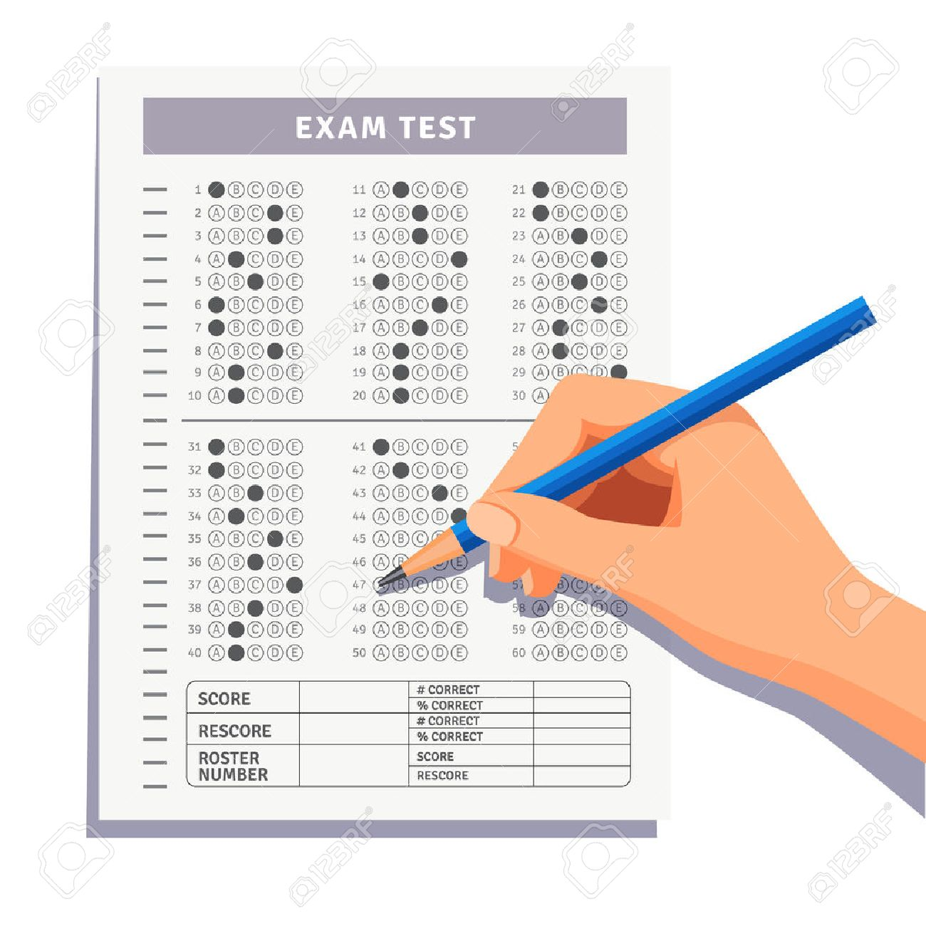 Student filling out answers to exam test answer sheet with pencil