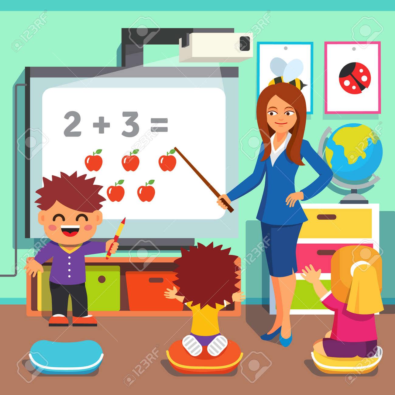 Kindergarten Teacher Woman Teaching Kids Math With An Interactive ...