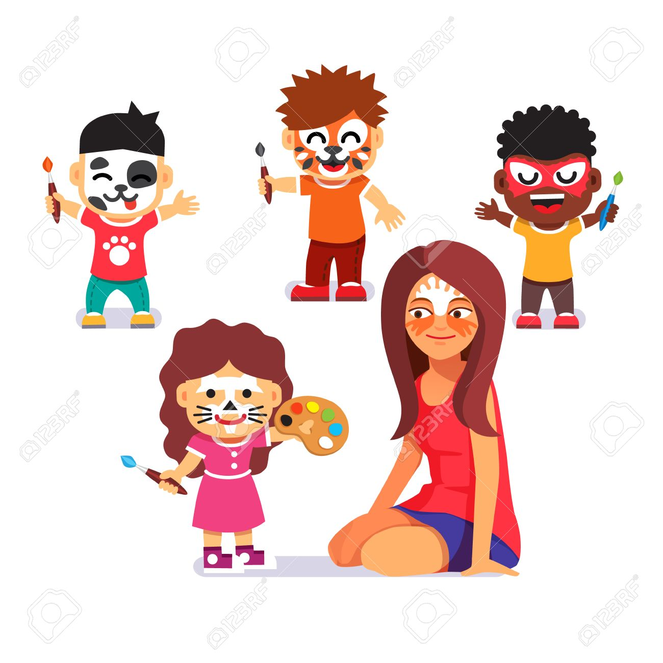 face painting party kids with brushes playing with teacher and drawing characters paint no - Cartoon Painting For Kids