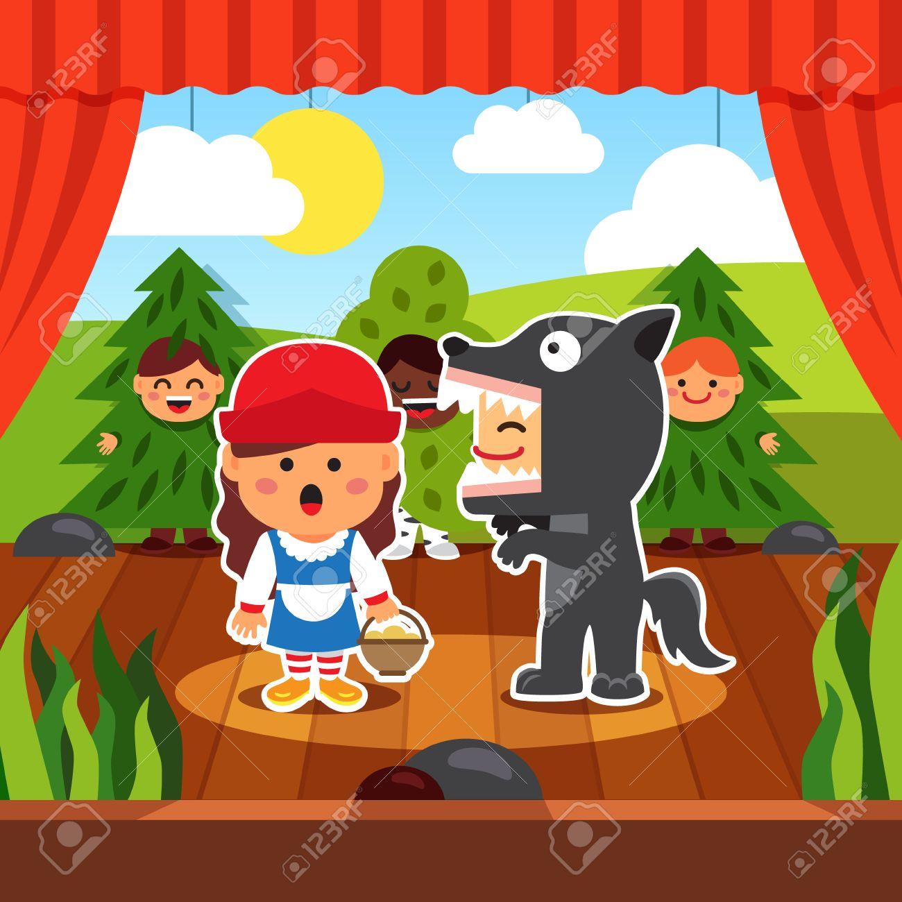 Obra De Teatro Kindergarten Niños Puesta En Escena De Caperucita Roja En El Vestuario Wolf Y Red Hood En Los Consejos Acompañados De árboles Boy Estilo De Dibujos Animados Ilustración Vectorial Plano