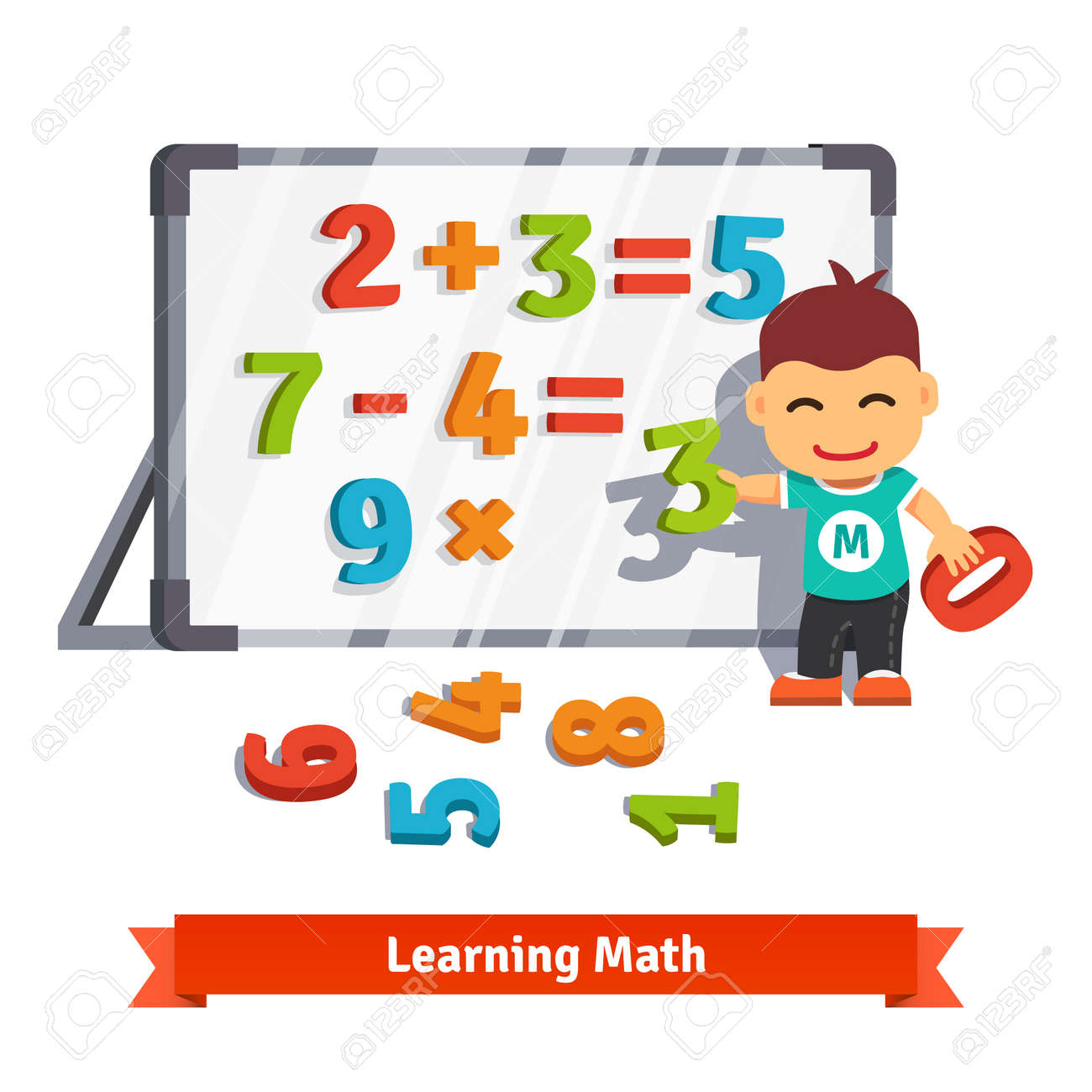 Boy learns math doing addition, subtraction and multiplication with plastic numbers on a magnet board. Flat style cartoon vector illustration isolated on white background. Stock Vector - 46283921