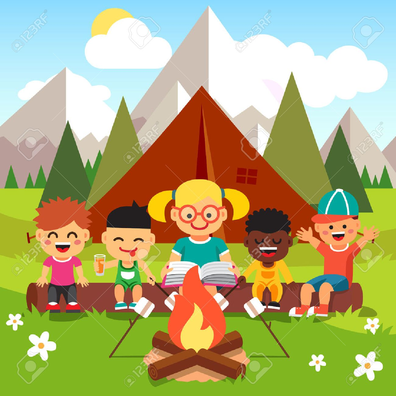 Kindergarten Kids Camping In The Forest Near Big Mountains Children Sitting And Listening To A