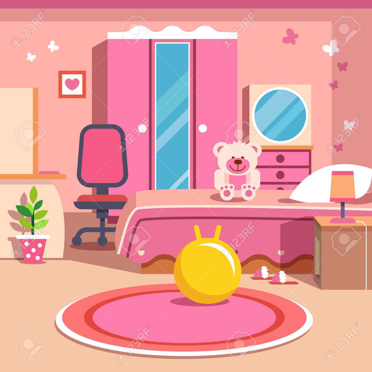 Chicas Todo Interiores Dormitorio Rosa Estilo De Dibujos Animados Ilustración Vectorial Plano Con Objetos Aislados