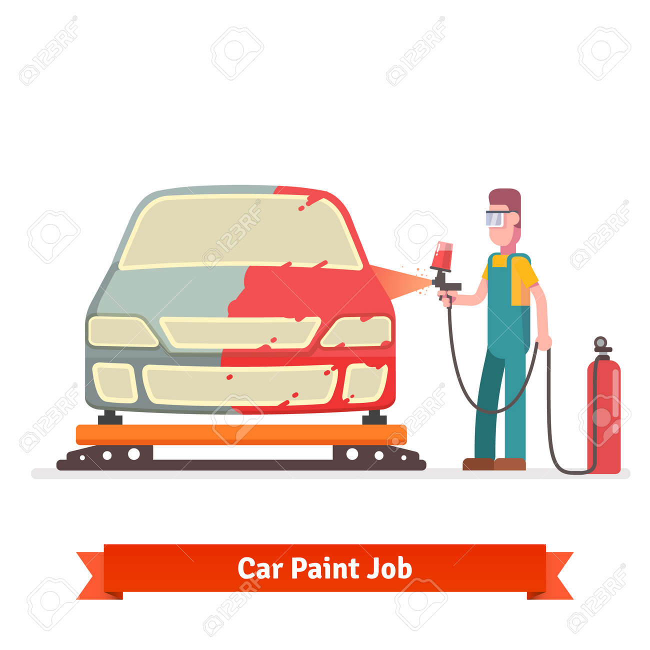 Specialist Spray Painting Auto Body At Car Collision Repair Shop