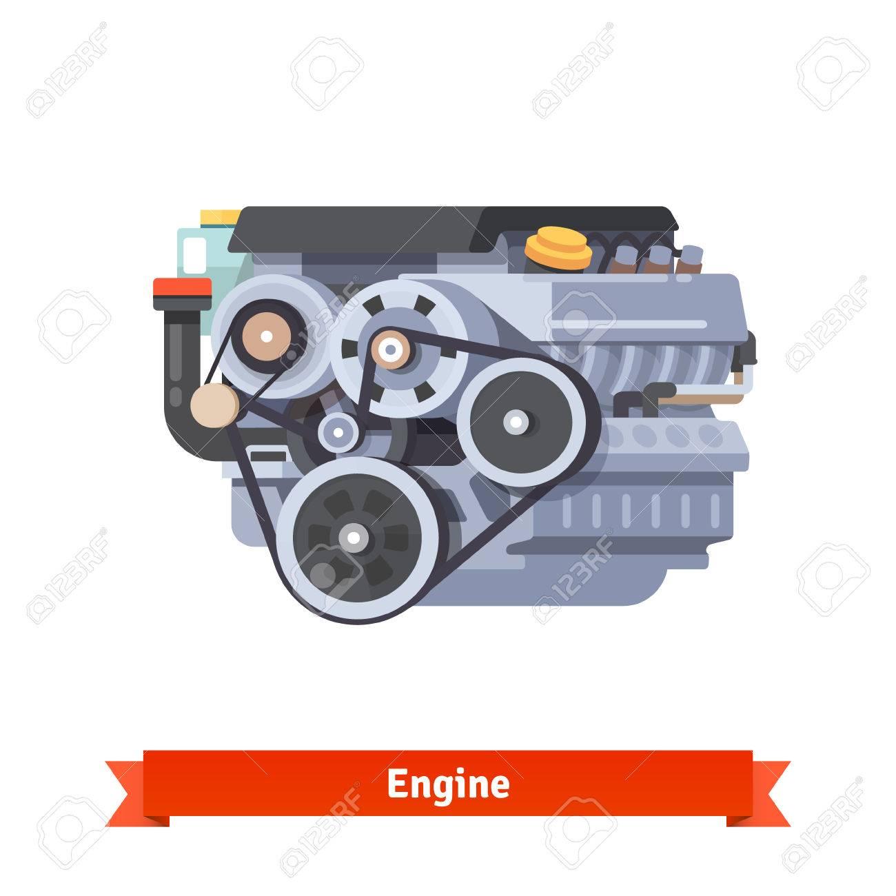 Modern Car Verbrennungsmotor. Überholung Reparatur. Wohnung Art 3d ...