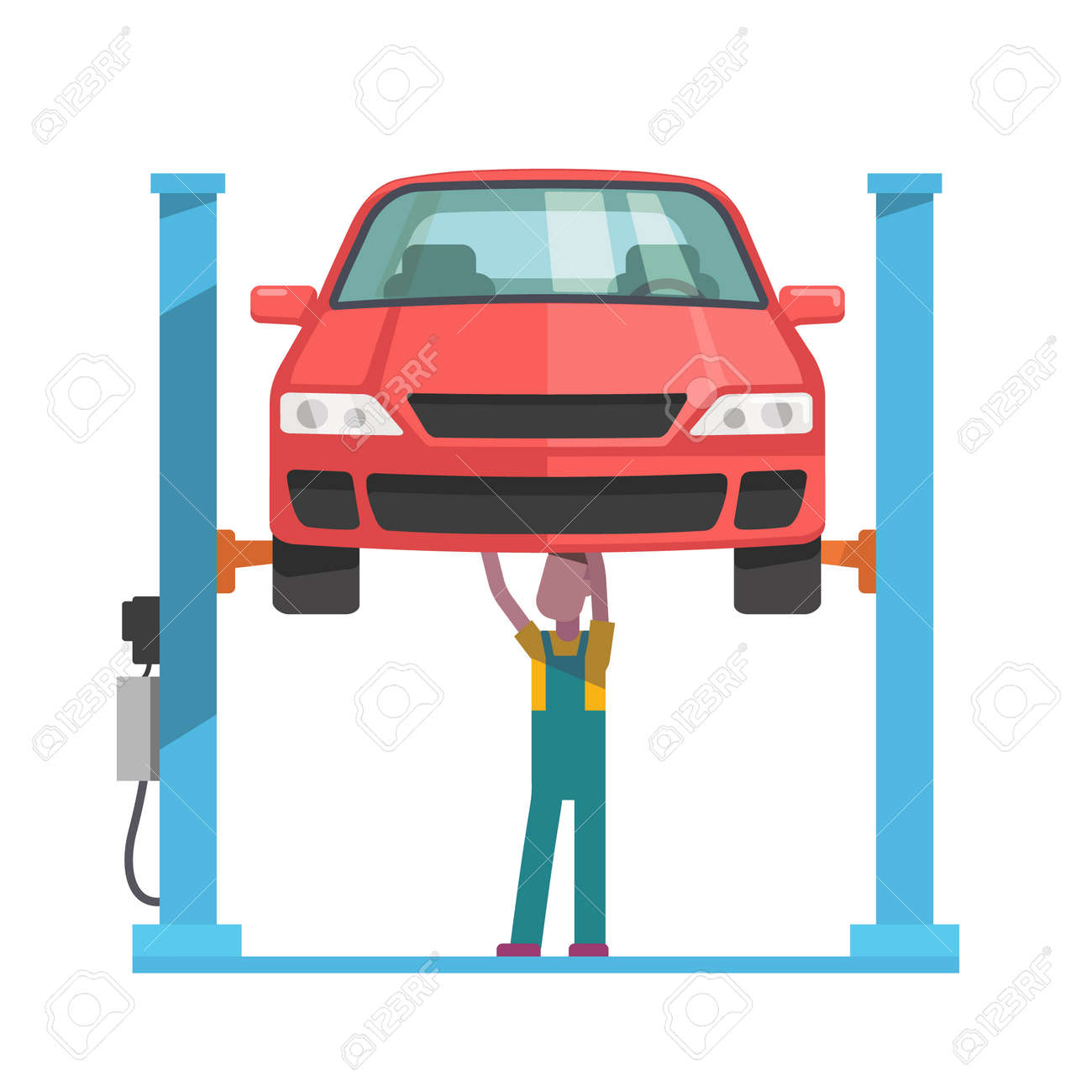 Mechanic standing under underbody and repairing a car lifted on auto hoist. Front view. Flat style vector illustration isolated on white background. - 46607575