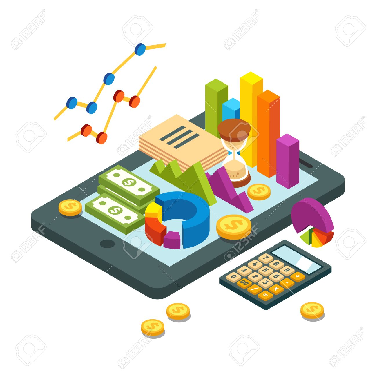 Modern business and analytics concept pie chart bar graphs modern business and analytics concept pie chart bar graphs money bills and coins ccuart Image collections