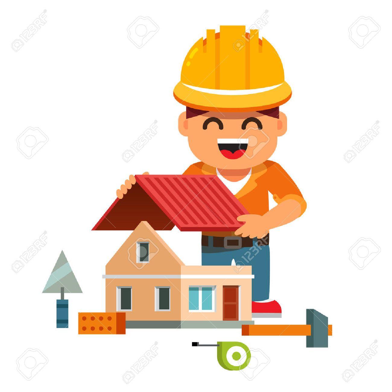 Baustelle haus comic  Junge Lächelnde Hausbauer In Bauarbeiterhelm Gebäude-und Montage ...
