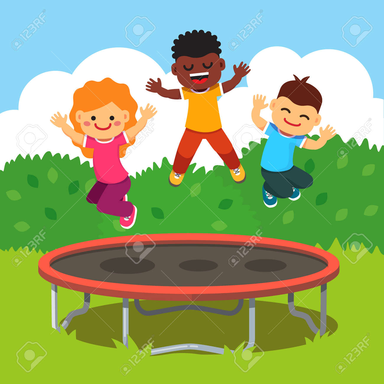 Three Excited And Smiling Kids Jumping On Trampoline In A Courtyard Royalty Free Cliparts Vectors And Stock Illustration Image 46607654