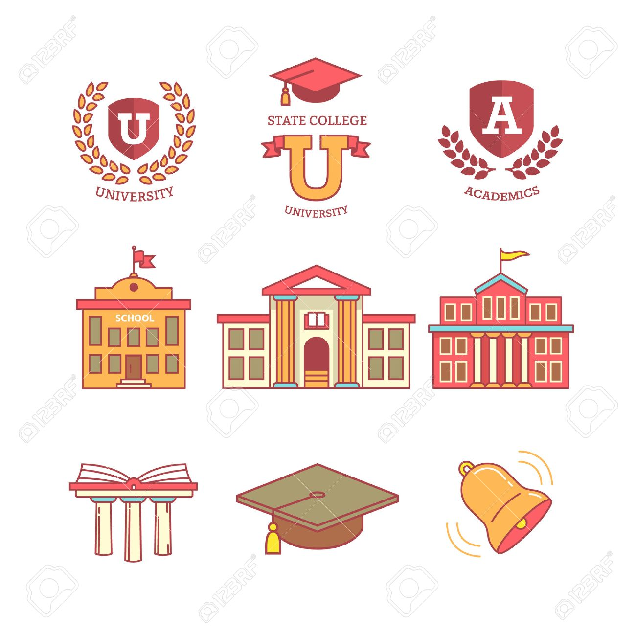 Mortar board, education, school, academy, college and university, library emblems and buildings. Thin line icons set. Modern flat style symbols isolated on white for infographics or web use. - 47050342