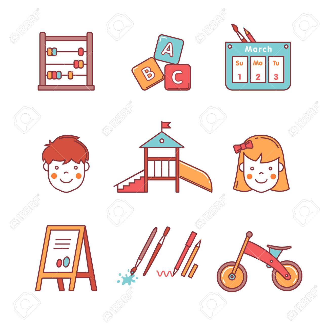 Iconos De La Educación Kindergarten Delgada Línea Fijadas. Niña ...