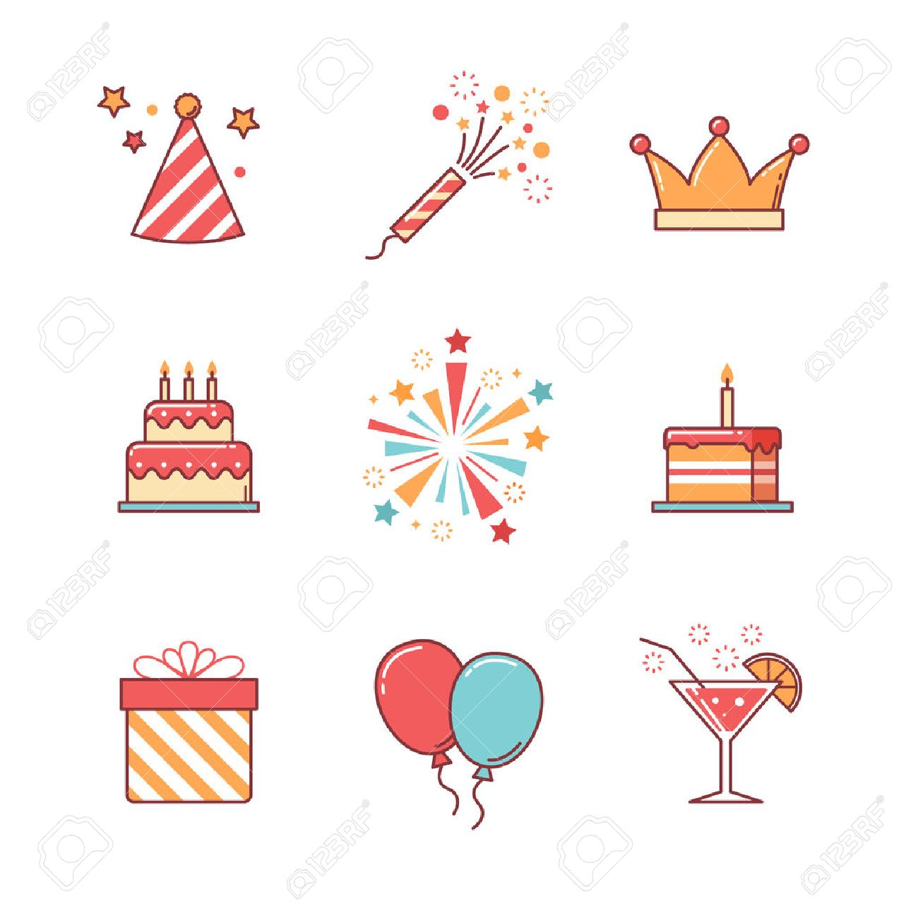 Birthday icons thin line set. Celebration event, cake and fireworks. Flat style color vector symbols isolated on white. Stock Vector - 47050513