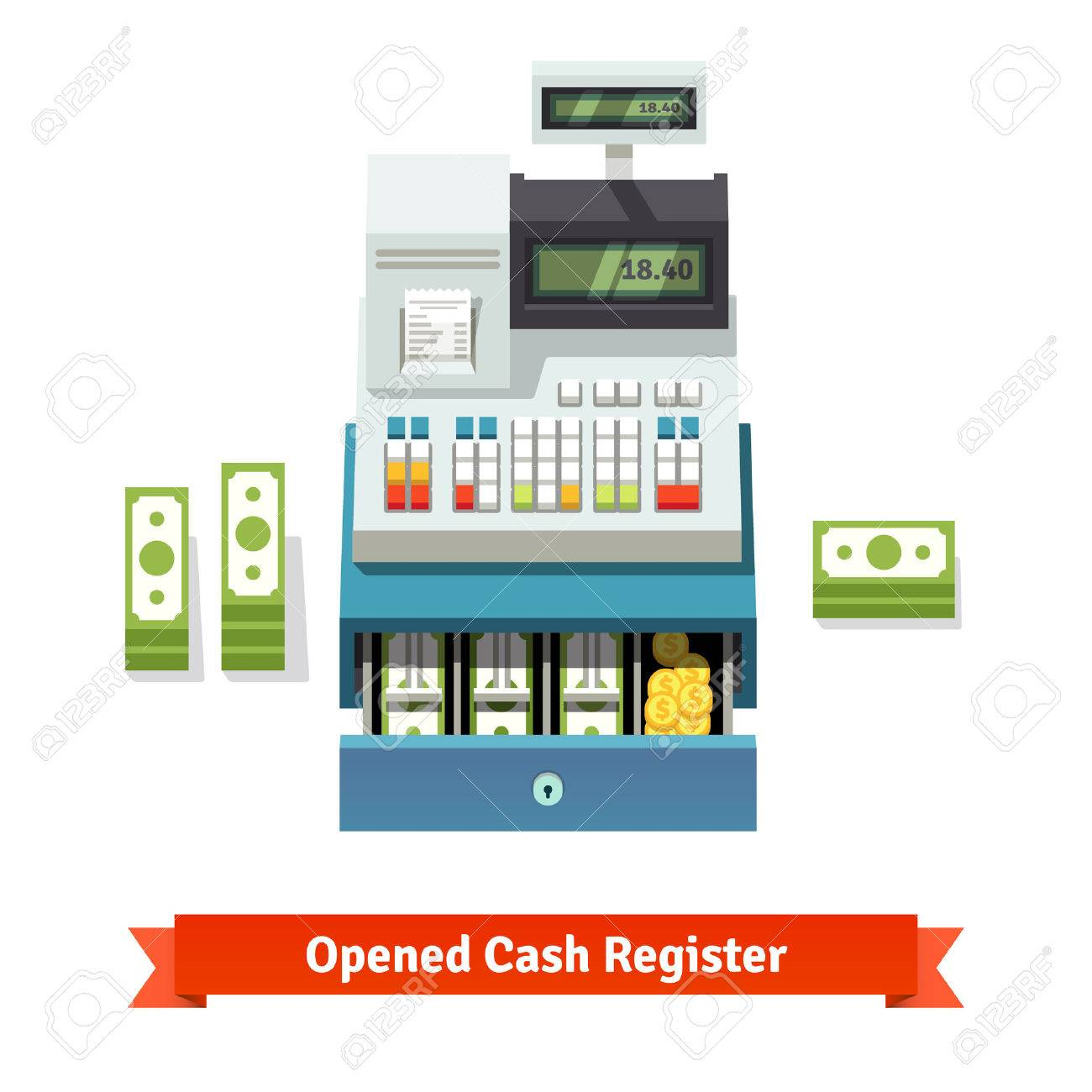 Opened cash register with printed receipt, paper money stacks and coins inside the box. Flat style vector illustration isolated on white background. - 47493671