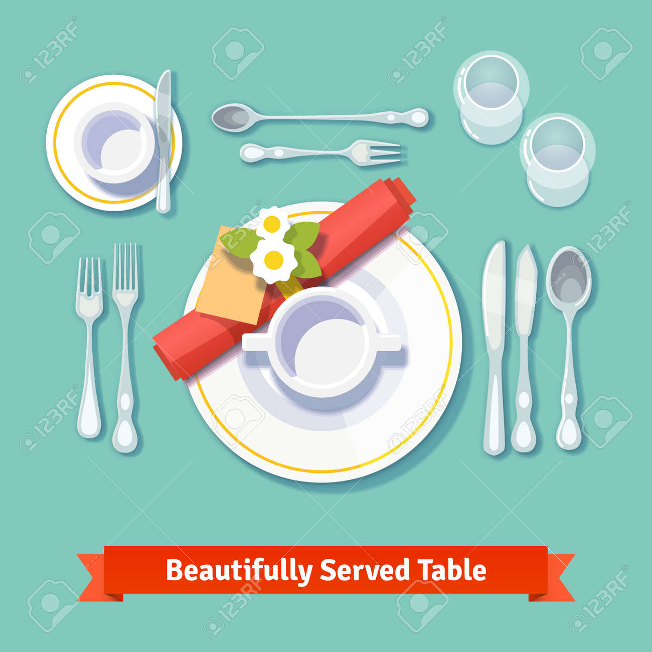 Beautifully Served Table. Formal Dinner Setting. Isolated Flat ...
