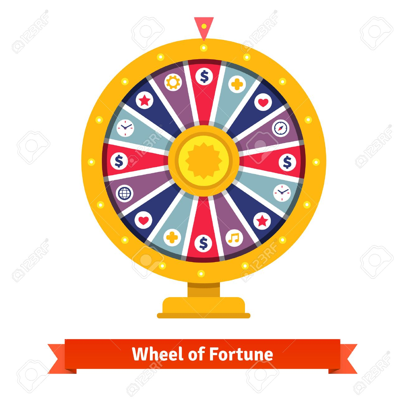 Wheel of fortune with bets icons. Flat style vector illustration isolated on white background. - 47493677