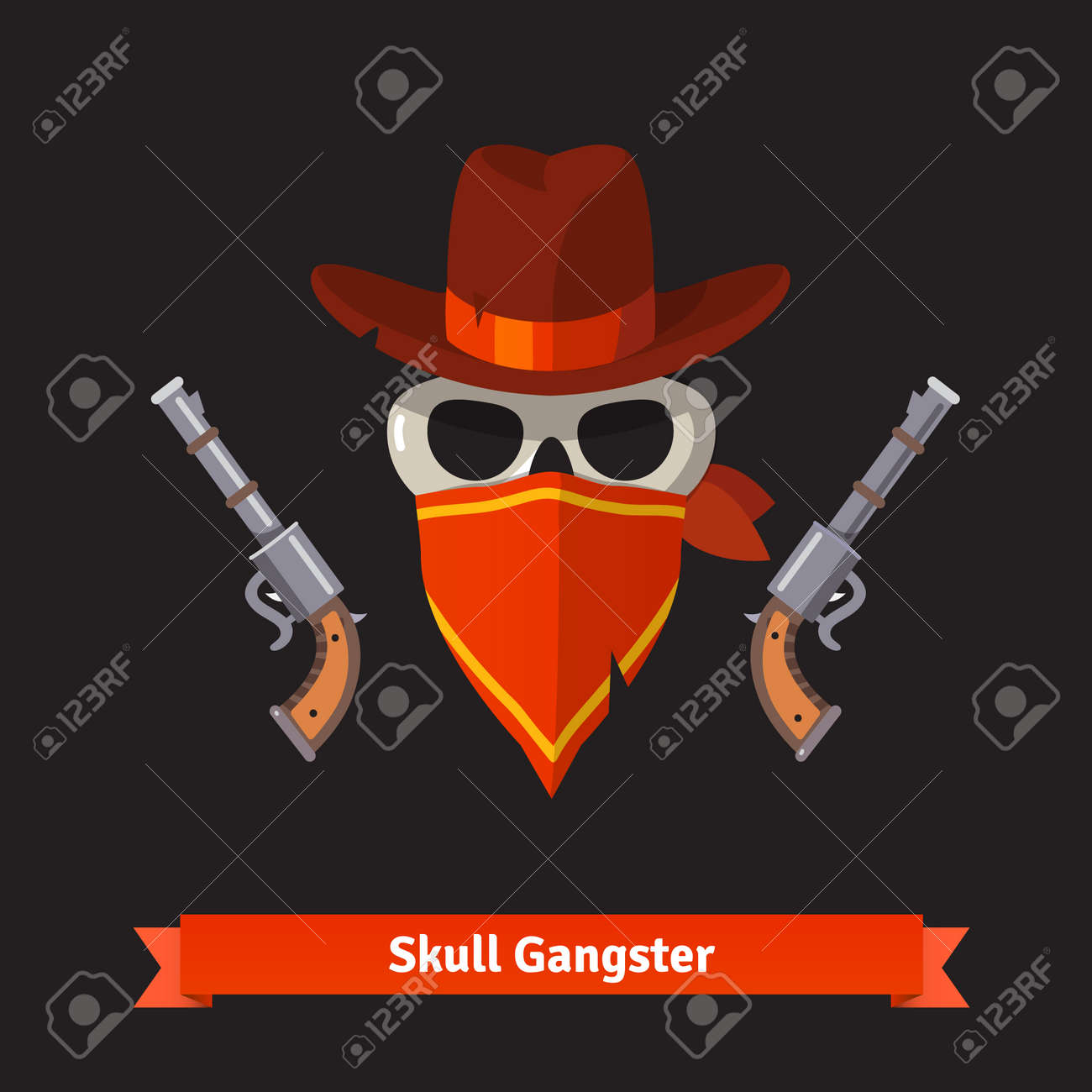Skull gangster in stetson hat with two revolver guns. Flat style vector  illustration isolated on 4ced041bd659
