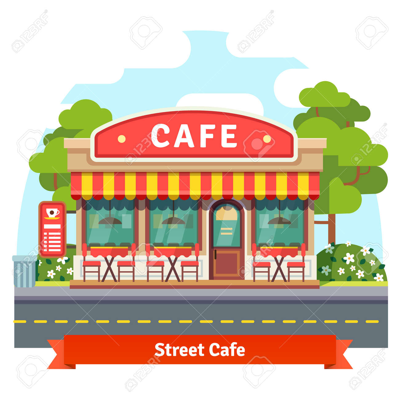 Building cartoon clipart restaurant building and restaurant building - Open Cafe Building Facade With Outdoor Street Chair Seats And Tables Flat Style Vector Illustration