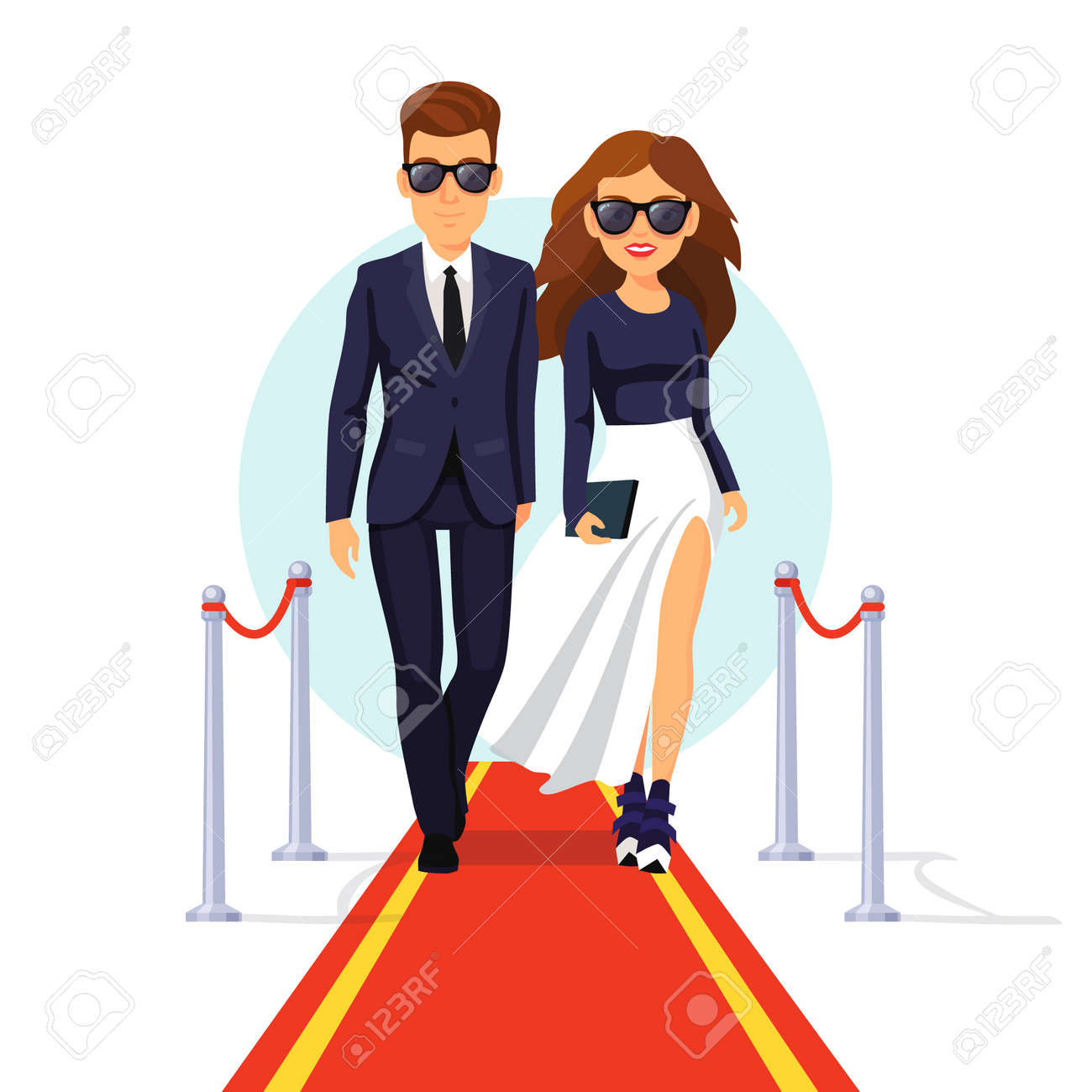 Two rich and beautiful celebrities walking on a red carpet. Flat style vector illustration isolated on white background. - 47493762