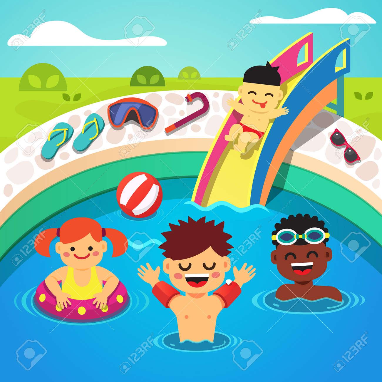 Schwimmbad comic kinder  Kinder Im Schwimmbad Lizenzfreie Vektorgrafiken Kaufen: 123RF