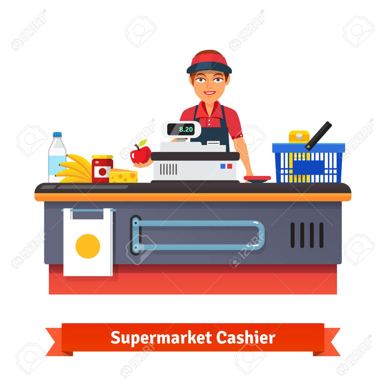 Supermercado equipo escritorio contador y secretario en uniforme de sonar las compras de comestibles. Ilustración vectorial de estilo plano aislado en fondo blanco. Foto de archivo - 47493849