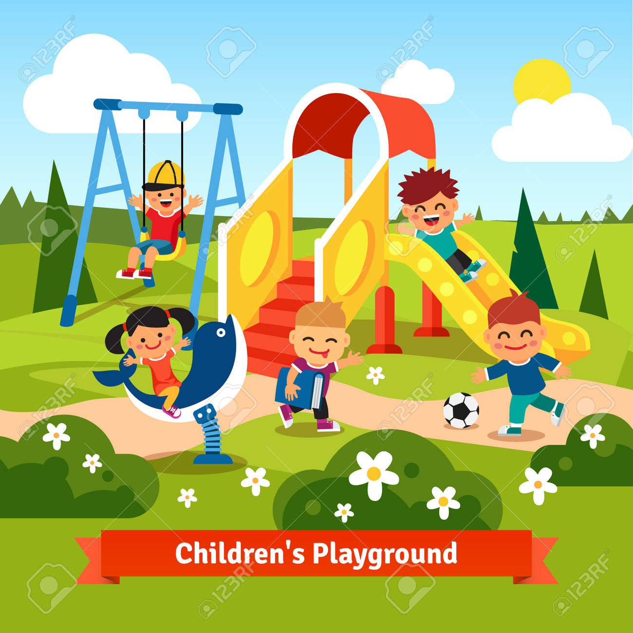 kids playing on playground swinging and sliding children flat rh 123rf com playground clipart png playground clipart borders