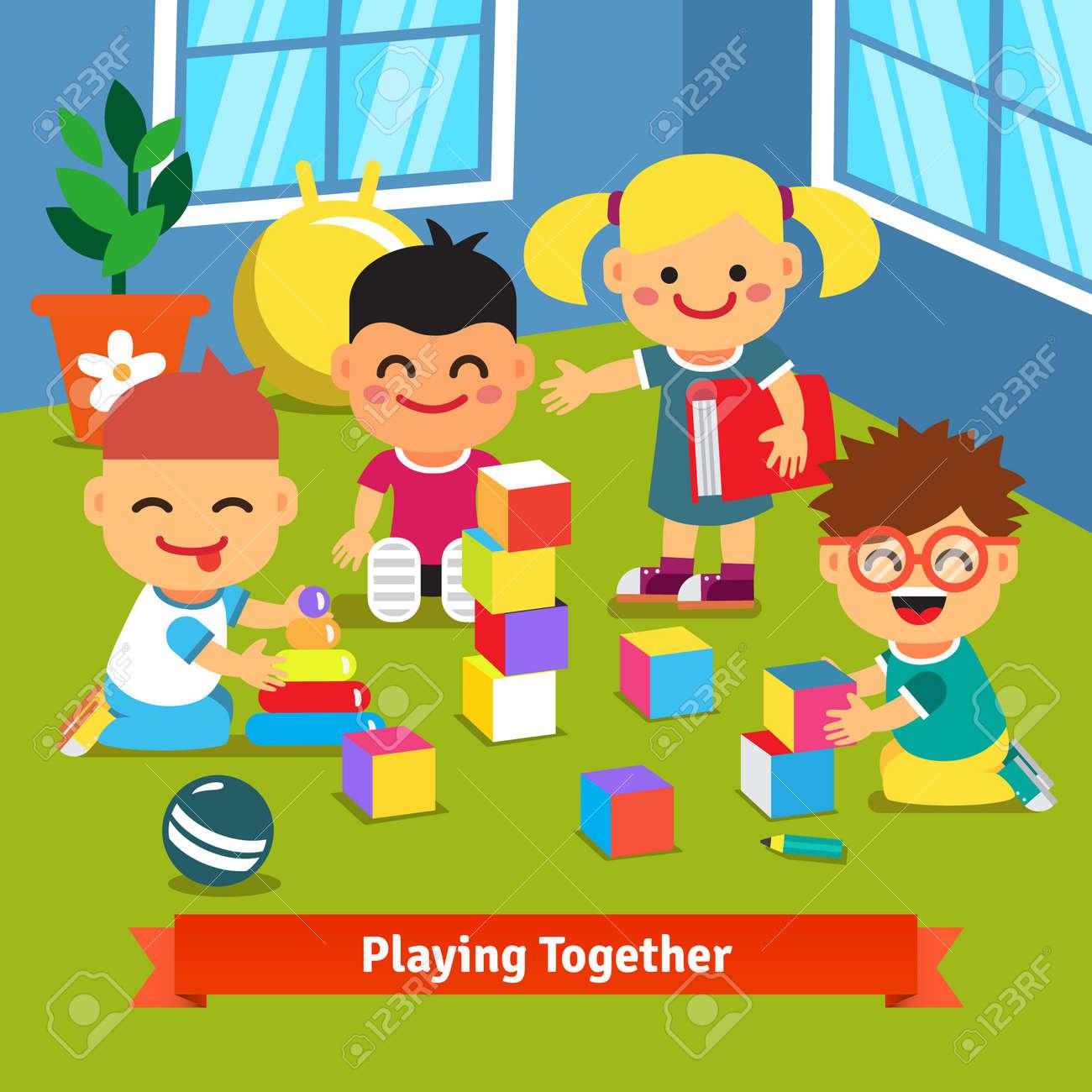 De Sala Jardín Animados En Vector Ladrillos Plano Con InfanciaIlustración Juntos Estilo Y Niños Dibujos Juguetes Jugando La 0k8wPnO