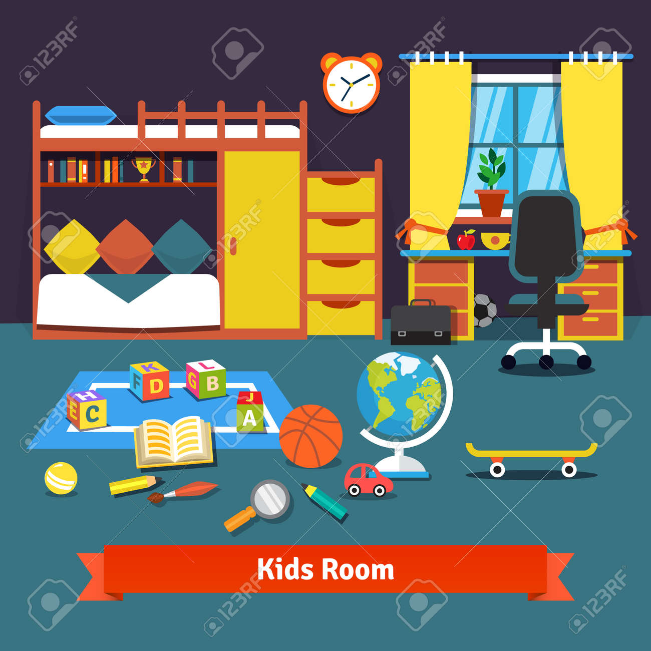 Two Kids Room With Bunk Bed, Cupboard, Desk, Chair And Toys On ...
