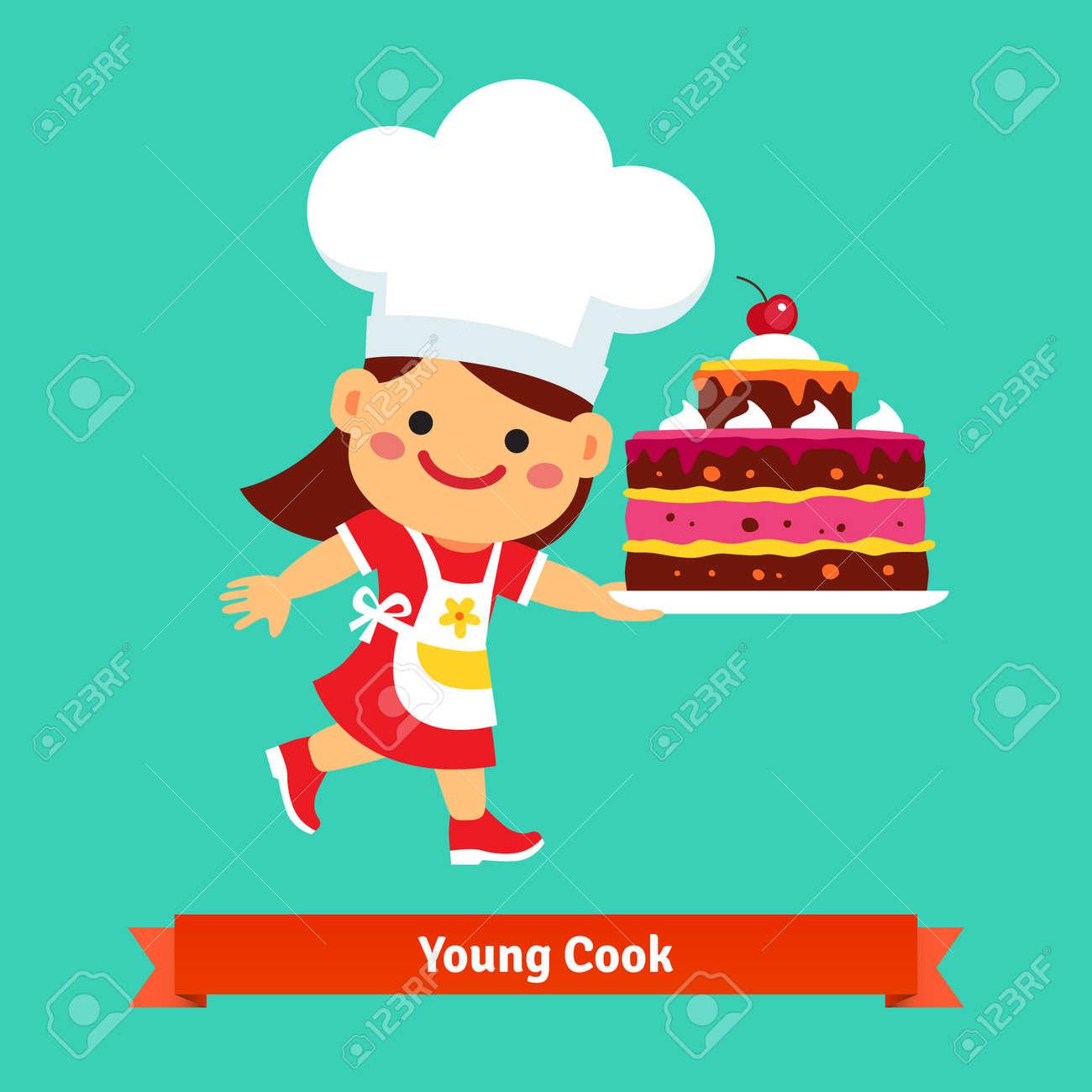 Muchacha Sonriente Cocinar En Chefs Sombrero Con Un Gran Pastel De ...