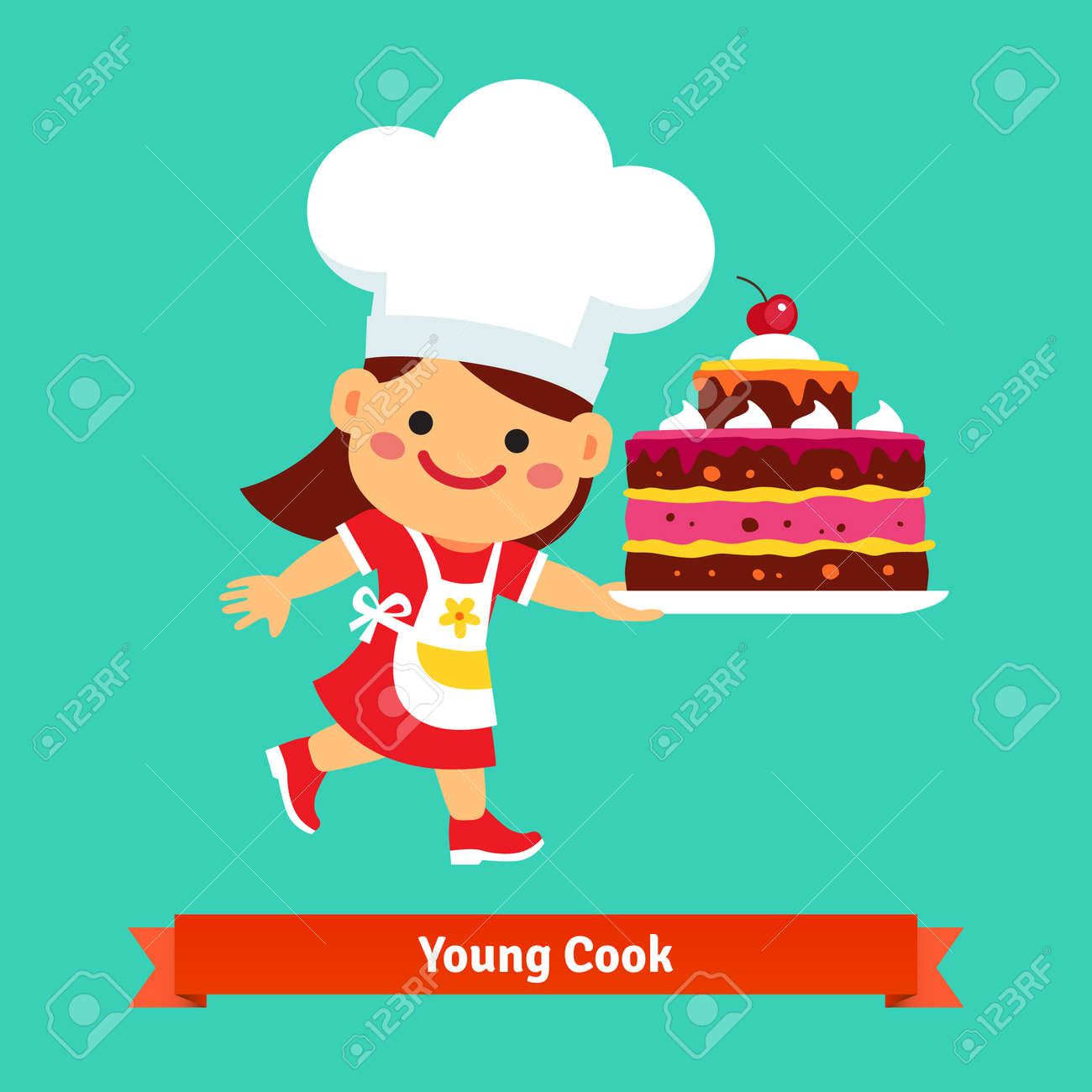Smiling Girl Cook In Chefs Hat Holding A Big Birthday Cherry Cake That She Cooked Herself
