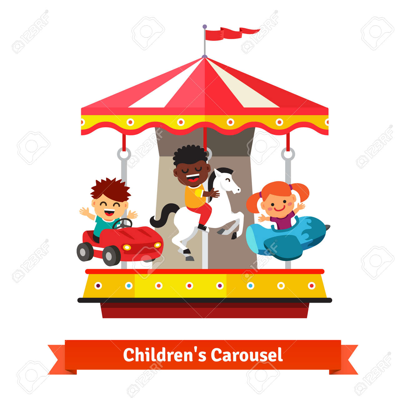 kids having fun on a carnival carousel boys and girl riding