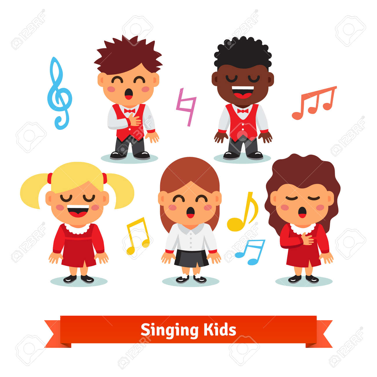 Choir of kids singing. Boys and girls happy children quintet. Flat vector cartoon illustration isolated on white background. - 48013965