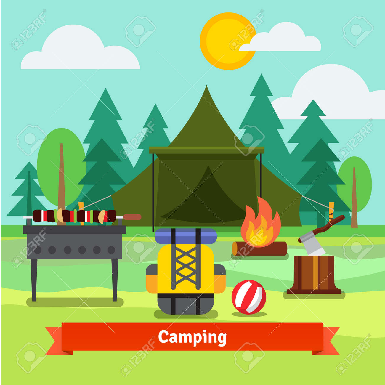 camping in the forest with tent backpack axe barbecue grill