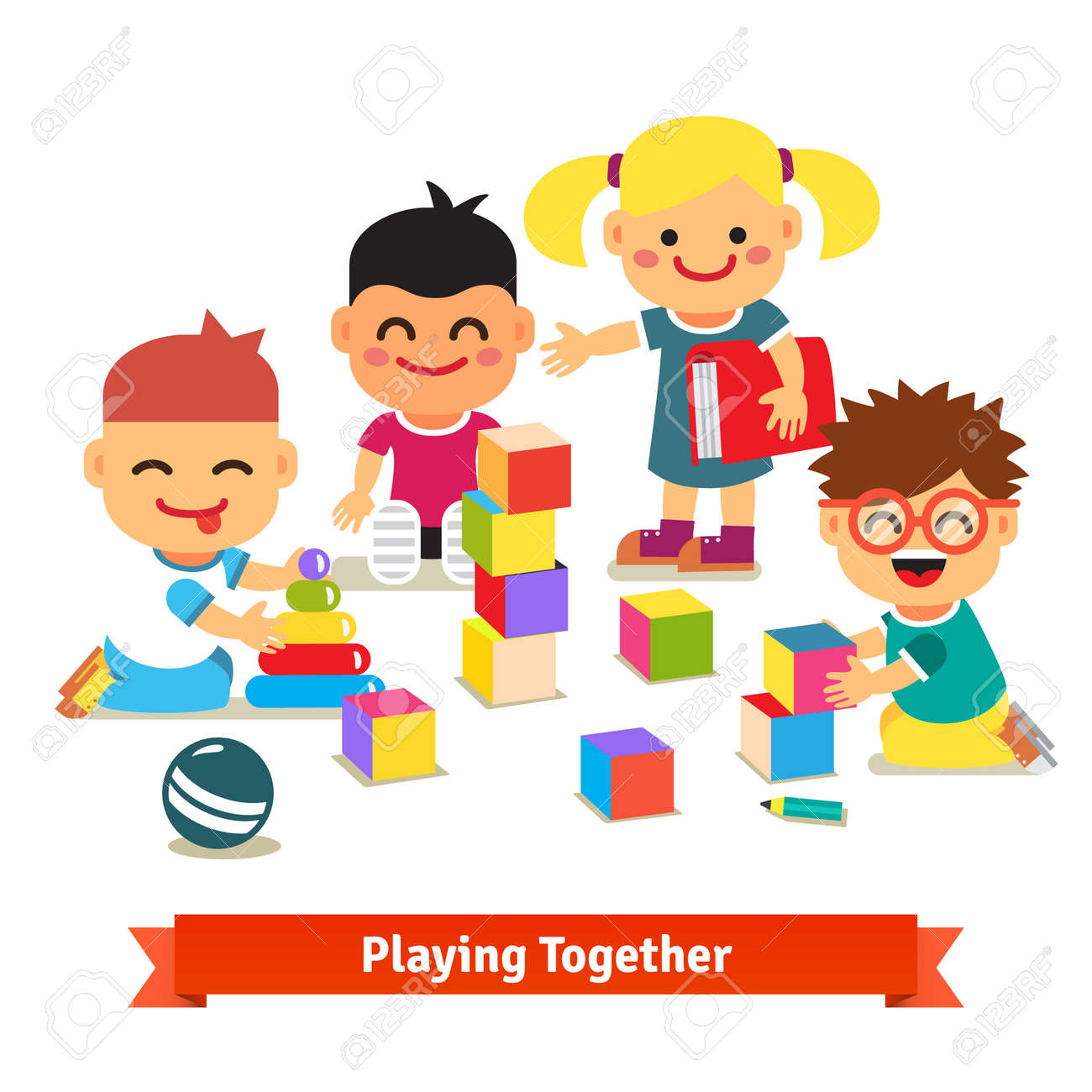 Kids Playing With Bricks And Toys Together In Kindergarten Room