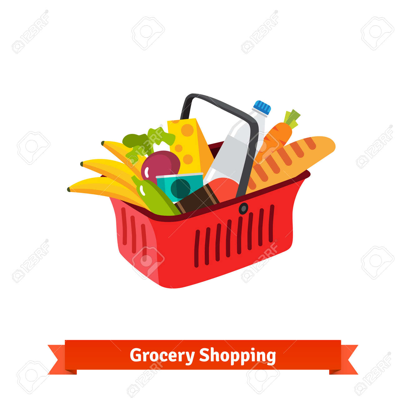 Red plastic shopping basket full of groceries. Supermarket or local store. Flat isolated vector illustration. Foto de archivo - 48124331