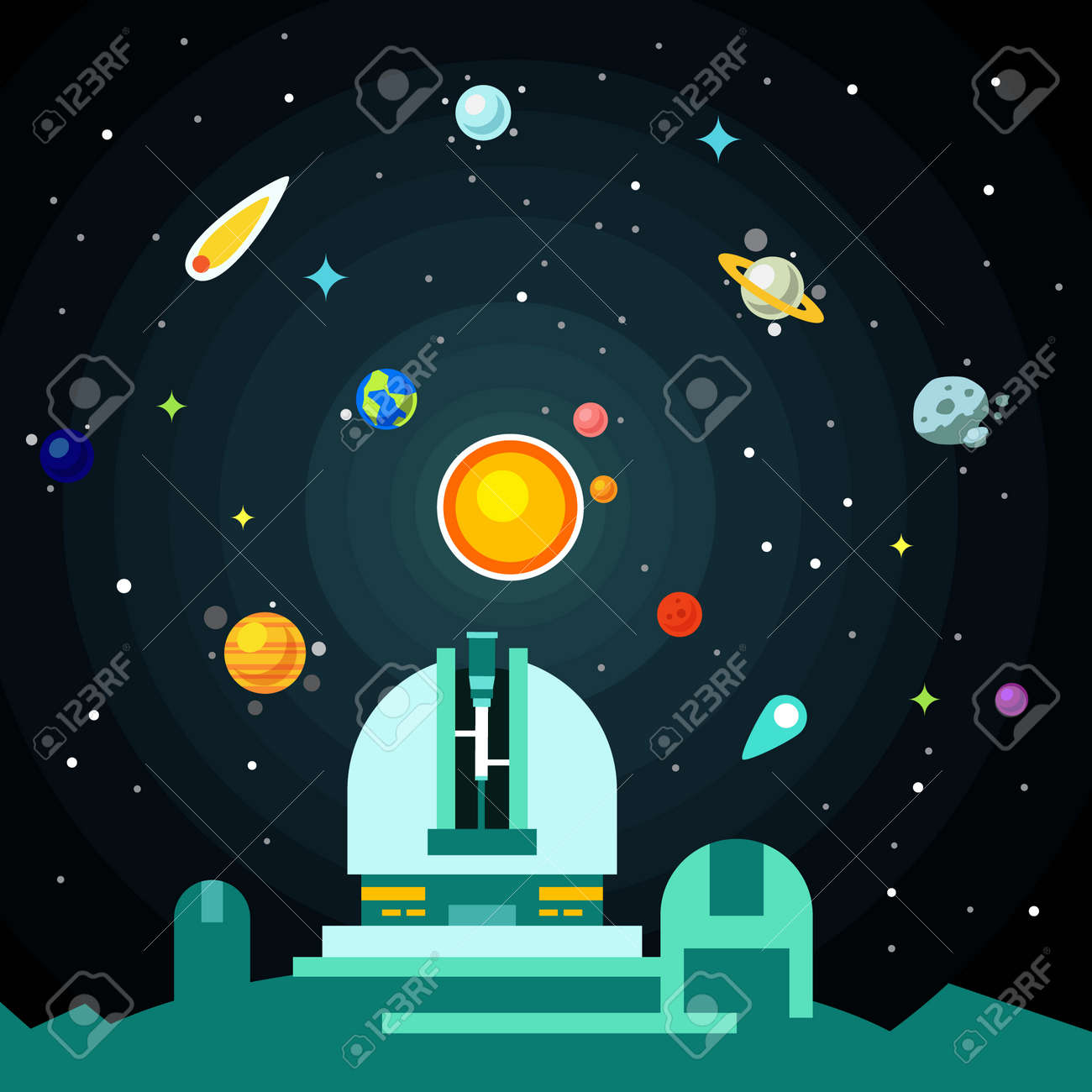 Observatory station, solar system with planets, comets and asteroids