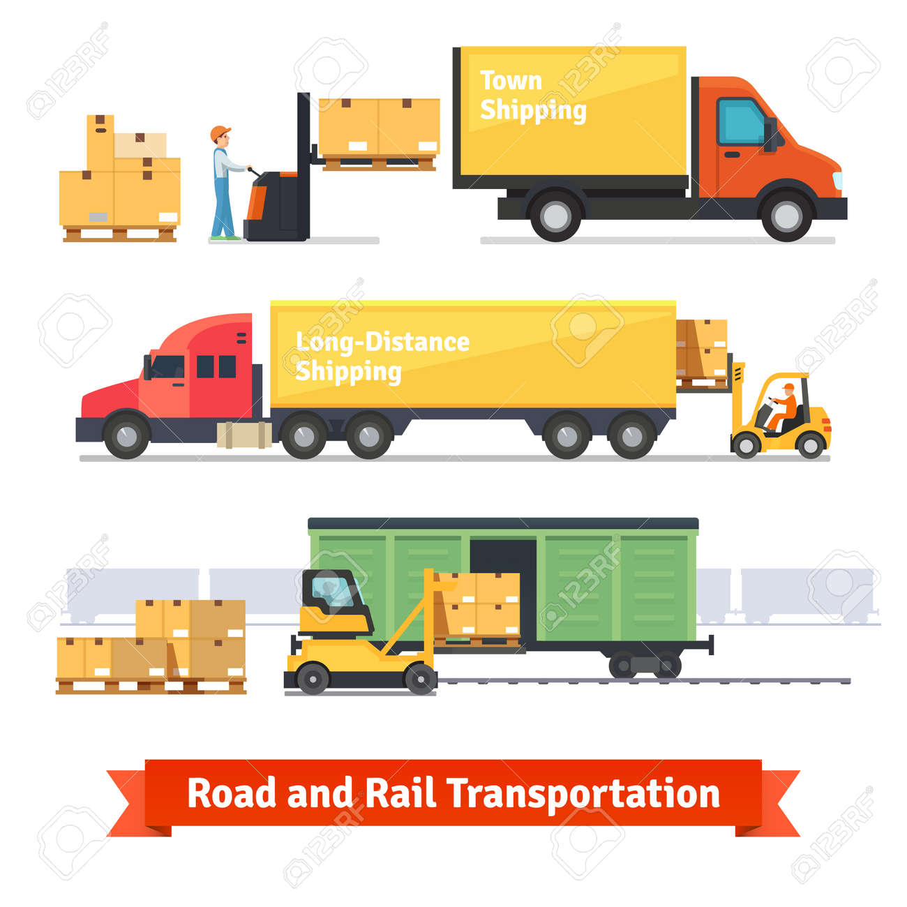 Cargo transportation by road and train. Workers loading and unloading trucks and rail car with forklifts. Flat style icons and illustration. - 48124392