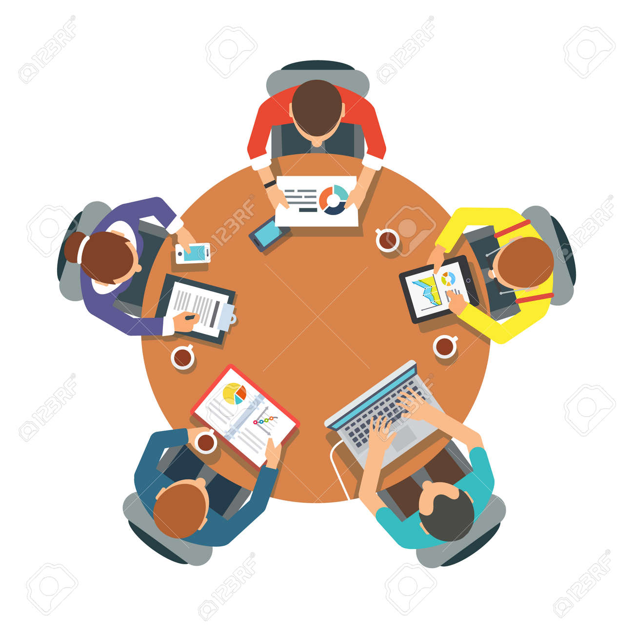 Five People Team Sitting And Working Together At The Round Table - Round table clip art