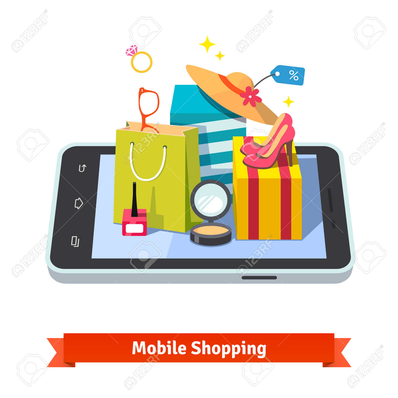 3c29a239cf Vector - Woman mobile online shopping for accessories and cosmetics  concept. Purchases in beautiful wrapped boxes